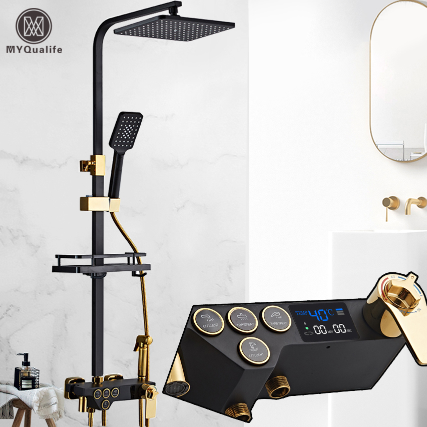 Rainfall Shower Faucet Golden Black Bathroom Shower Set With Bidet Sprayer Mixer Tap Wall Mount Shower Recommended Products Cards Carousel