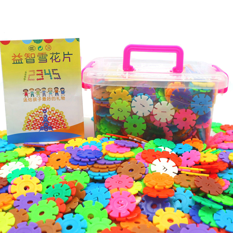 Baby Early Learning Insert Snowflake Flakes Building Blocks Boxed Plastic Splice Assembly Snowflakes, Children's Educational Toy