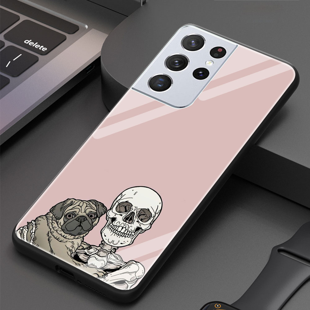 Cute Cat Dog And Skeleton Funny Skull Tempered Glass Phone Case For Samsung Galaxy S21 Ultra S20 FE 5G S10 Plus S9 S8 S10e Cover