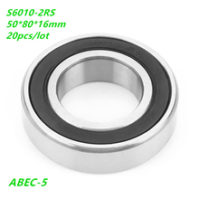 20pcs/lot S6010-2RS S6010RS Stainless steel Deep Groove Ball bearing 50x80x16mm S6010 2RS RS 50*80*16 ABEC-5 Double Rubber cover