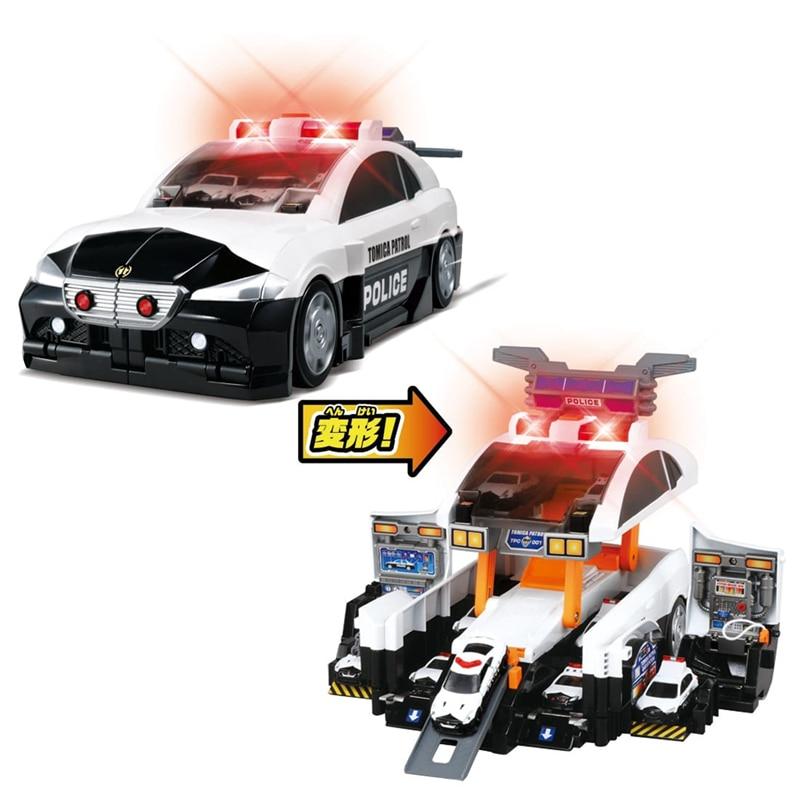 Takara tomy tomica деформационная полицейская патрульная машина, игрушка для литья под давлением, Развивающие детские игрушки, горячая поп машина, безделушка, модель, набор, коллекционные вещи - 6