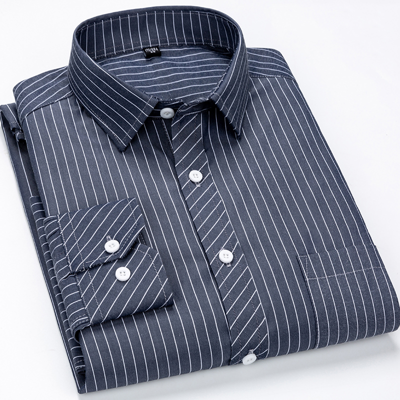 Men's Classic Vertical Striped Regular-Fit Long-Sleeve Shirt Single Patch Pocket Buttoned Up Formal Business Basic Dress Shirts