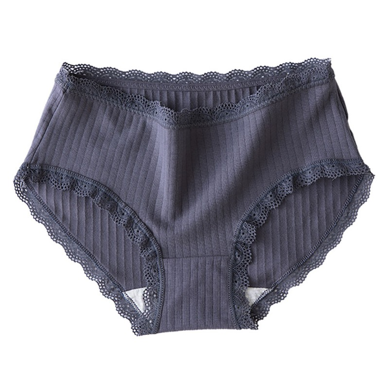 Fashion Sexy Lace Decoration Women's Panties Solid Briefs Simple Beautiful Cotton Antibacterial Middle Rise Panties