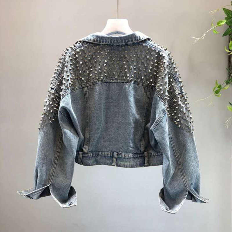 Primavera nueva chaqueta vaquera para mujer remache locomotora viento Jeans abrigo de manga larga chaquetas de mujer brillante azul holgado Casual Casaco Femme
