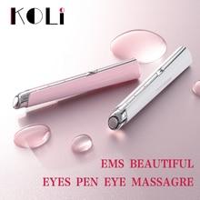 Koli pluma para eliminar el acné, bolsa para ojos con luz azul, elimina las ojeras, masajeador de ojos, instrumento de belleza para el cuidado de la piel facial