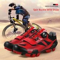 산티크 남자 사이클링 신발 스핀 버클 MTB 마운틴 레이싱 자전거 남성 스포츠 신발 자전거 Ridding 신발 통기성 PU 후크 & 루프