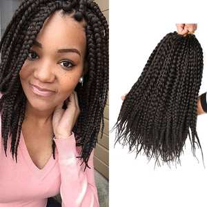 Hair-Extensions Hair-Short-Box Braids Crochet-Hair Burgundy Synthetic 12strands Black
