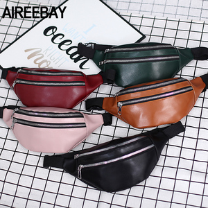AIREEBAY Women Chest Bag Waist Packs For Unisex Female Pu leather Fanny Packs 2020 New Fashion Banana Ladies Belt Bum Bags