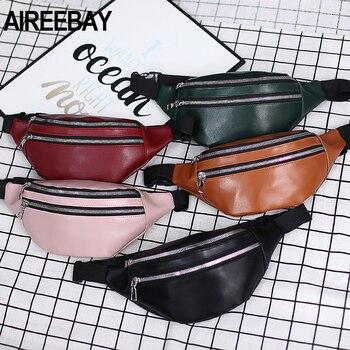 AIREEBAY Women Chest Bag Waist Packs For Unisex Female Pu leather Fanny 2020 New Fashion Banana Ladies Belt Bum Bags - discount item  35% OFF Women's Handbags