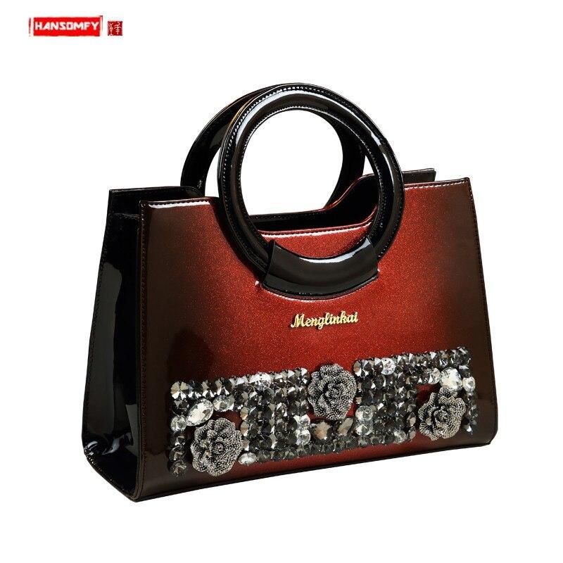 Luxury Fashion Diamond Bag Women Handbag Genuine Leather Ladies Rhinestone Shoulder Messenger Bag Female 2020 Wild Evening Bag