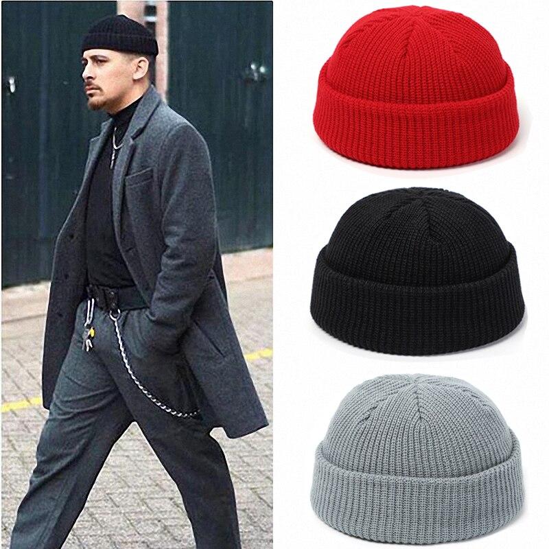 Knitted Beanie Hat Men Skullcap Women Winter Warmer Retro Brimless Baggy Melon Cap Black Cuff Docker Beanies Hats For Men 2020