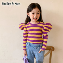 Girls Sweater Kids Knitted-Tops Streetwear Striped Children Autumn Spring 1-To-7-Yrs