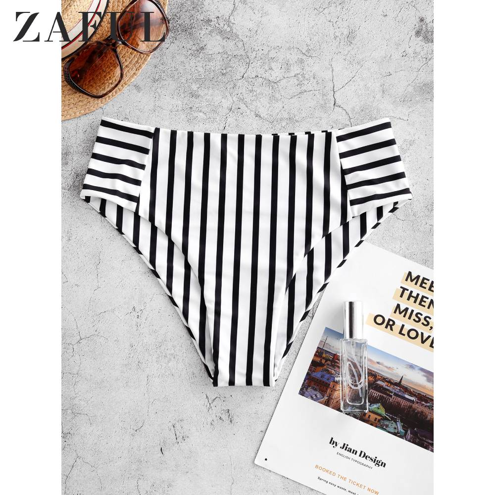 ZAFUL Striped High Waisted Swim Bottom Briefs One Piece Swimsuit Panties Underwear Side Ties Brazilian Thong Ladies Short Bottom