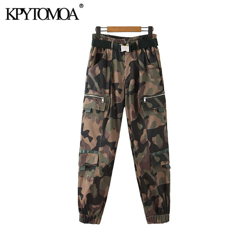 Vintage Stylish With Belt Pockets Camouflage Pants Women 2020 Fashion Elastic Waist Zipper Fly Female Ankle Trousers Pantalones