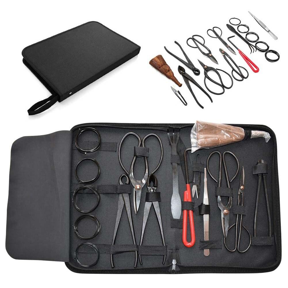 Tools : 16Pcs Garden Bonsai Tool Set Carbon Steel Kit Cutter Scissors with Nylon Case Multi-function Bonsai Kit Steel Cutting Tool Kit