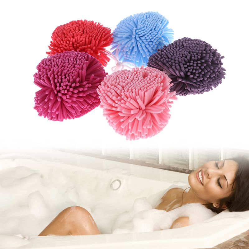 2Pcs Mesh Bath Sponge Balls Buffer Shower Puff Body Exfoliate Wash Scrunchie