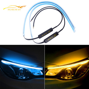 Drl Led-dagrijverlichting Dynamische Richtingaanwijzer Geel Gids Strip Voor Koplamp Montage 2x Ultrafijne Auto Accessoires(China)