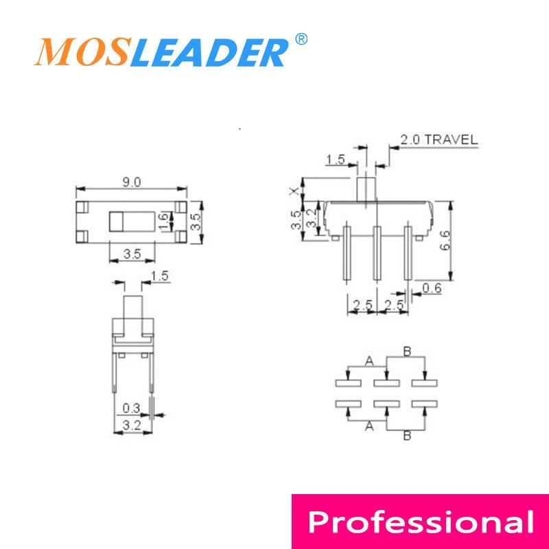 Mosleader 1000 шт. DIP SMD MSS22D18 6 P 6 Pin 2 мм 2 T 2 Travel MSS22D18G2 передний скользящий переключатель боковой скользящий переключатель DVD тумблер
