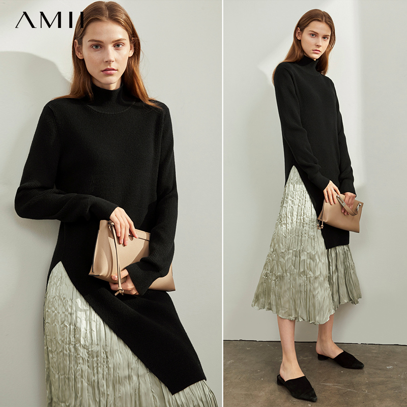Amii Autumn Winter Women Turtleneck Sweater Female Elegant Solid Long Sleeve Split Long Pullover Tops 11970387