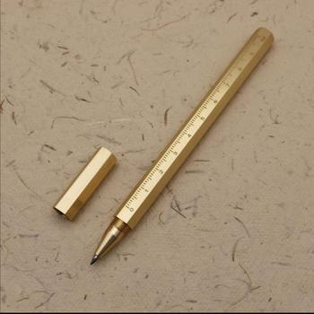 Hexagon Gel ink Pen Handmade Brass Roller ball Classic Unique Design 0.5mm Office Stationery Gifts Antique Pens