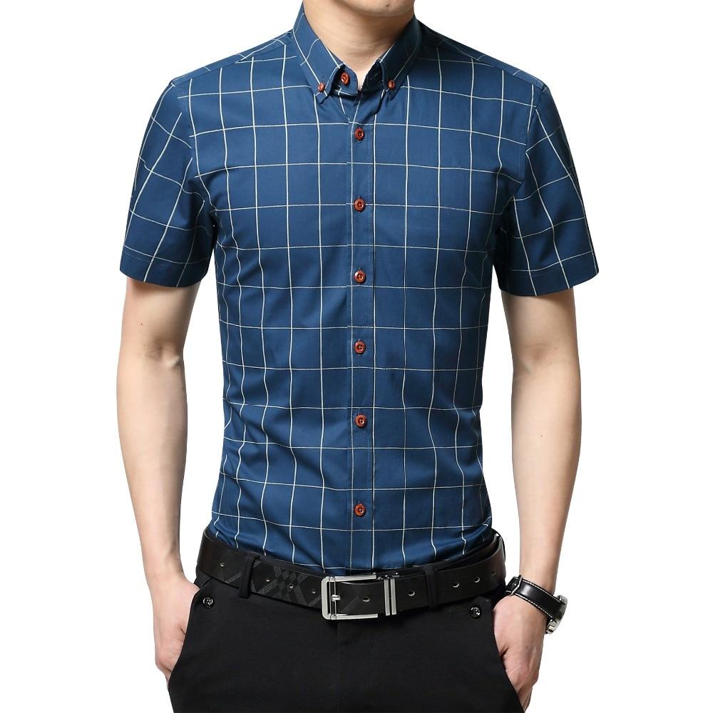 TFETTERS Casual Plaid Men Shirt Short Sleeve Shirt Mens Formal Dress Shirts  Cotton Big Size Men Clothing
