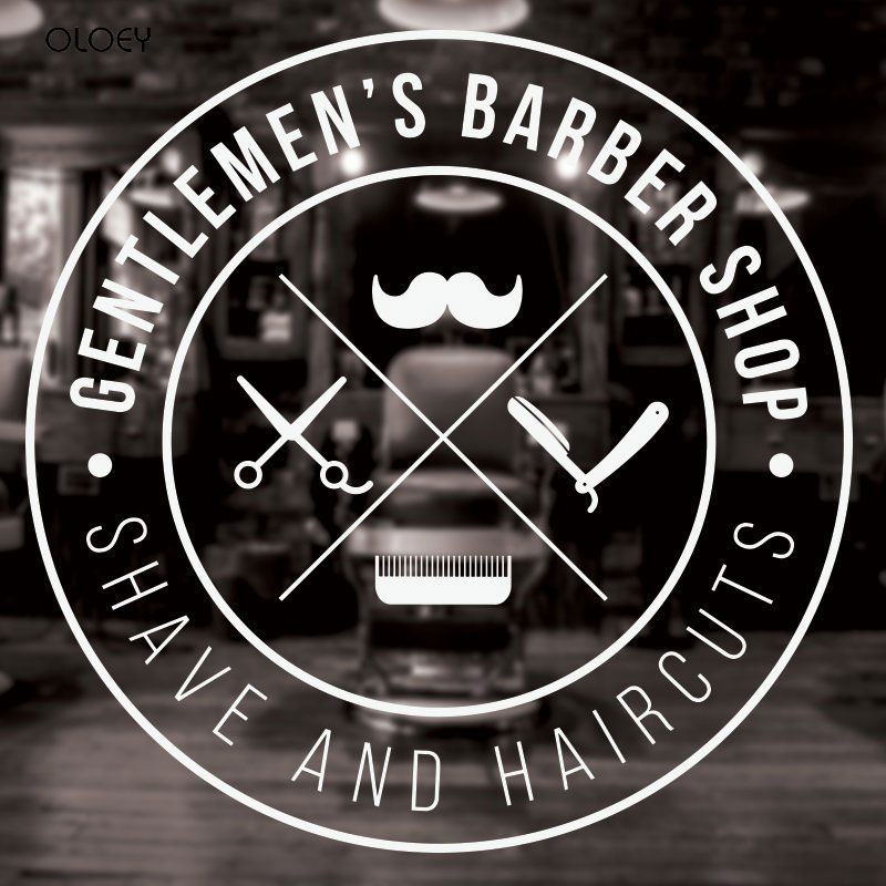 Man Barber Shop Sticker Name Chop Bread Decal Haircut Shavers Posters Vinyl Wall Art Decals Decor Windows Decoration Mural 3W13.