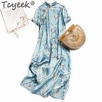 Tcyeek Vintage Real Silk Summer Dress Women Clothes 2020 Elegant Ladies Floral Long Dresses Woman Boho Party Vestidos Robe A0030