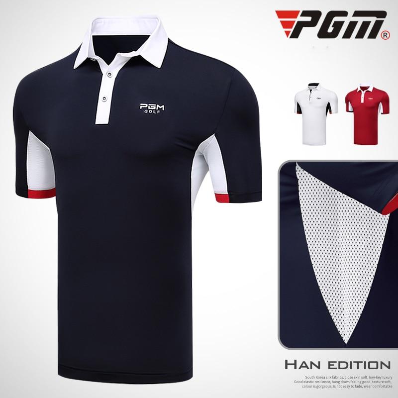 2019 Mens Golf Shirt Short Sleeve Breathable Golf Clothing Men Sportswear Sport Golf Tops Turn Down Collar Quick Dry Shirts