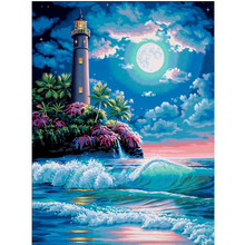 5D DIY Diamond Painting Seascape Landscape Embroidery Cross-stitch Full Circle Mosaic Home Gift