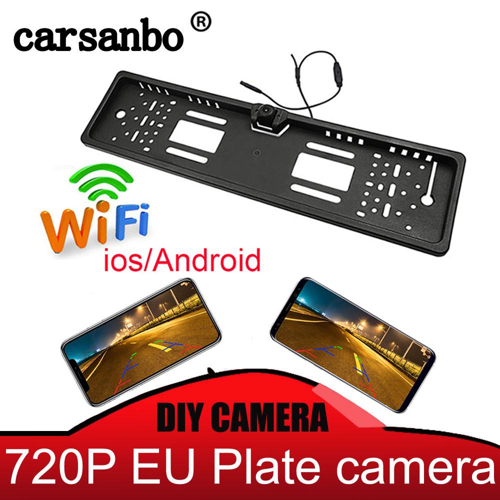 WIFI Car Rear View / Front View Camera Wireless European Car License Plate Frame Reverse Camera For IOS Android Mobile Phone