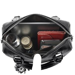 Image 5 - حقيبة ظهر نسائية 3 في 1 عالية الجودة بشرابات من الجلد حقيبة ظهر نسائية بسعة كبيرة من Mochilas حقائب مدرسية للمراهقات كيس