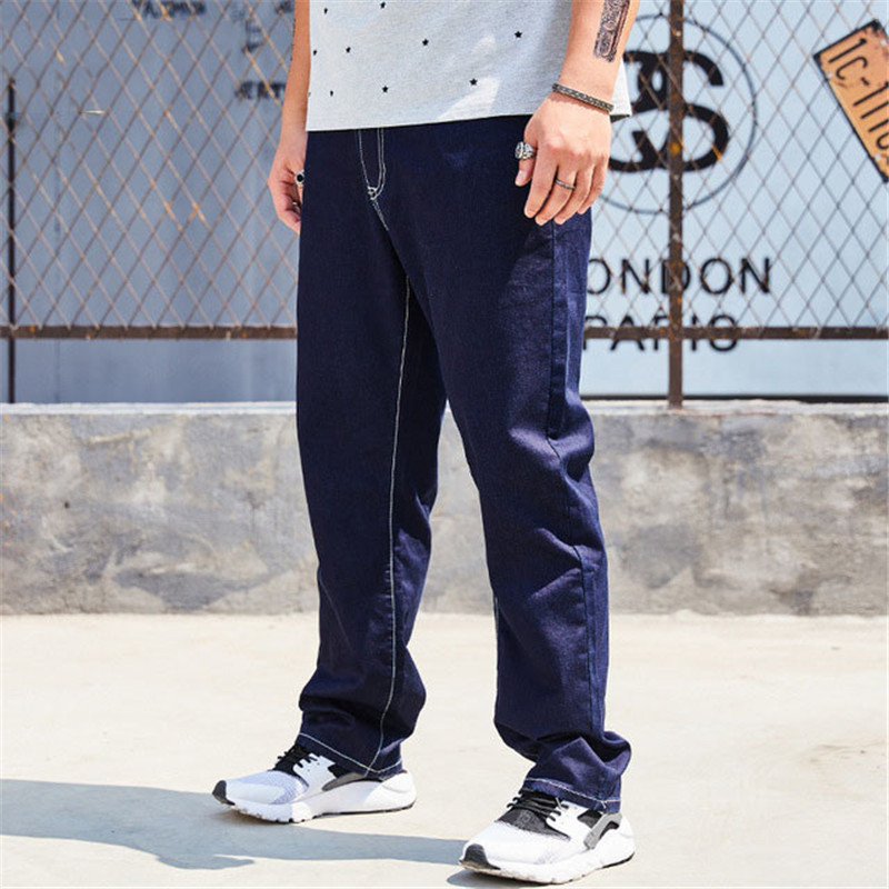 Jeans Men 2019 Summer New Large Size Jeans Men's Loose Straight Simple Casual Pants Dark Blue Denim Pants Size XL-6XL