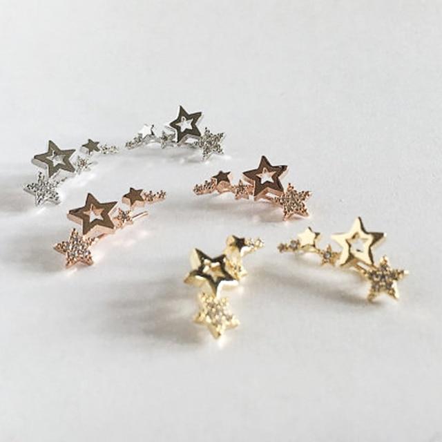 Huitan Hot Selling Simple Stylish Star Women Drop Earrings Shiny White Zircon Exquisite Versatile Female Earring Fashion Jewelry 4