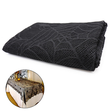 Halloween-Table-Cloth Lace Black Bat-Pattern Web Spider