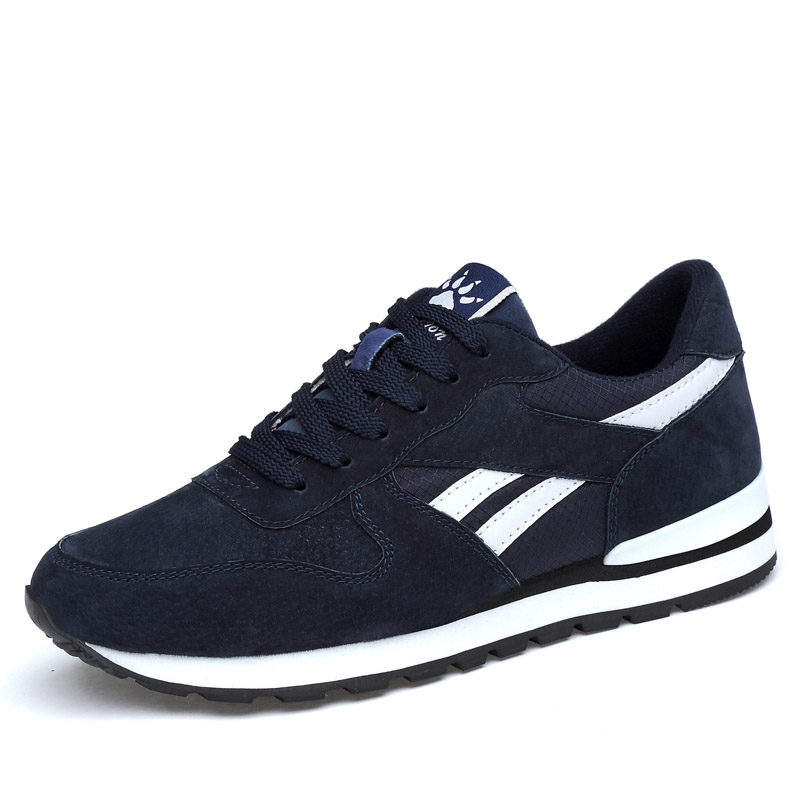 Men's Genuine Leather Sneakers Breathable Casual Running Shoes Non-slip Outdoor Walking Shoes Lightweight Lace-up Men Flat Shoes