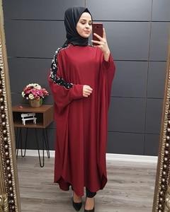 Image 5 - Plus Size Islamic Clothing Muslim Dress Women Dubai Turkish Long Robe Kimono Sequin Ethnic Style Seven point Sleeve Wild Dresses