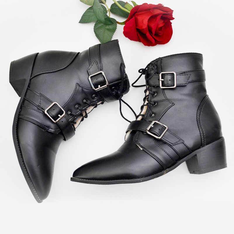 Meotina Motosiklet Botları Kadın Pu Deri Çizmeler Kış Perçin Tihck Topuk yarım çizmeler Toka kısa çizmeler Siyah Zip Kürk Bayan Ayakkabıları