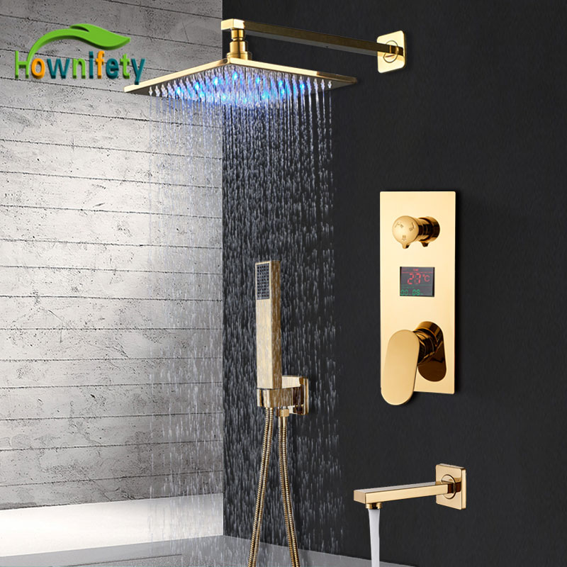 LED Gold Shower Faucet Bathroom Rainfall Shower Set Digital Display 3 Way Bath System Luxury 8/10/12/16 Inch Brass HotCold Mixer
