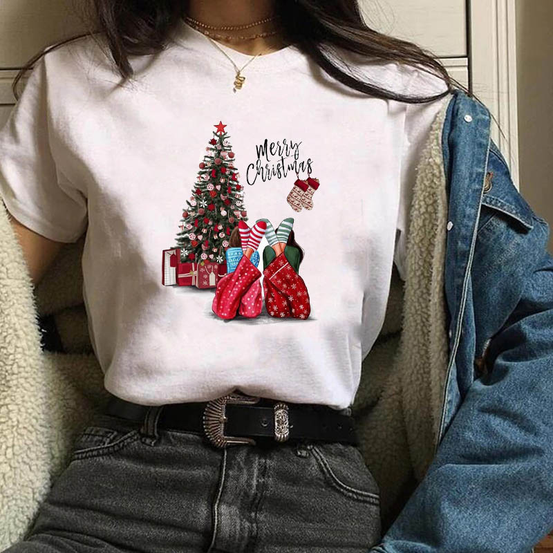 Womens Gift  New Year Print  Short Sleeve Clothes Merry Christmas Woman T-shirt Female  Kawaii T Tee Shirt Tshirt Women Tops