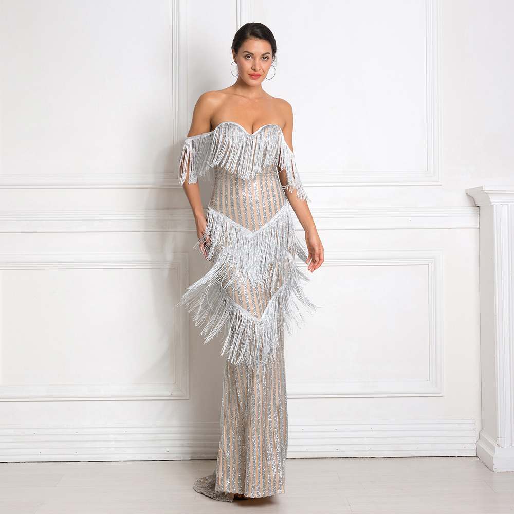 Glitter Patchwork Tassel Sexy Party Dress Off The Shoulder Glittered Maxi Dress Strapless Elegant Shiny Long Dresses