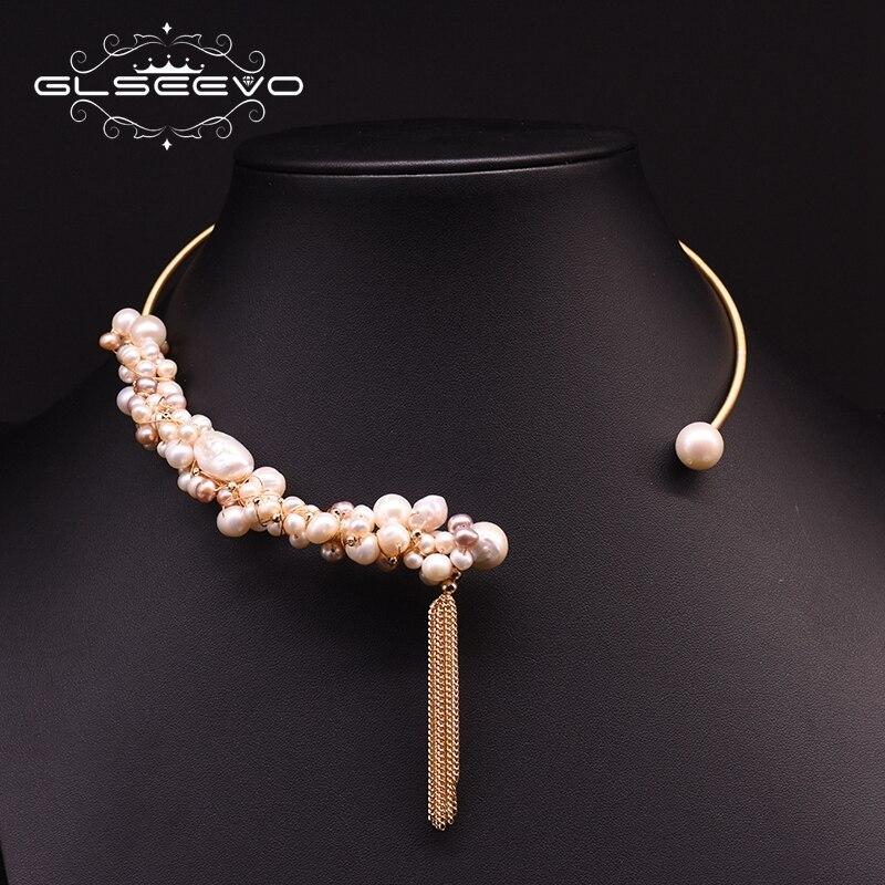 GLSEEVO Handmade Natural Freshwater Pearl Tassel Choker Necklace For Women Luxury Statement Necklace Bijoux Fine Jewelry GN0180