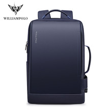 Williampolo ampliar mochila usb carga externa 15.6 Polegada portátil mochila ombros homens anti-roubo impermeável mochila de viagem