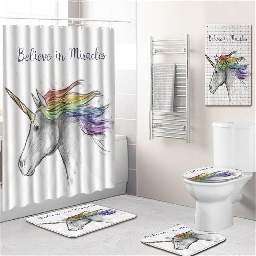 3D Животный Единорог принт ванная комната занавеска для душа водонепроницаемый полиэстер ПВХ нескользящий коврик для унитаза коврик для ва...