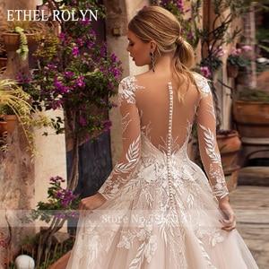 Image 4 - ETHEL ROLYN Romantic A Line Wedding Dresses Long Sleeve Button Illusion Appliques Vestido De Noiva Robe De Mariee Bride Dress