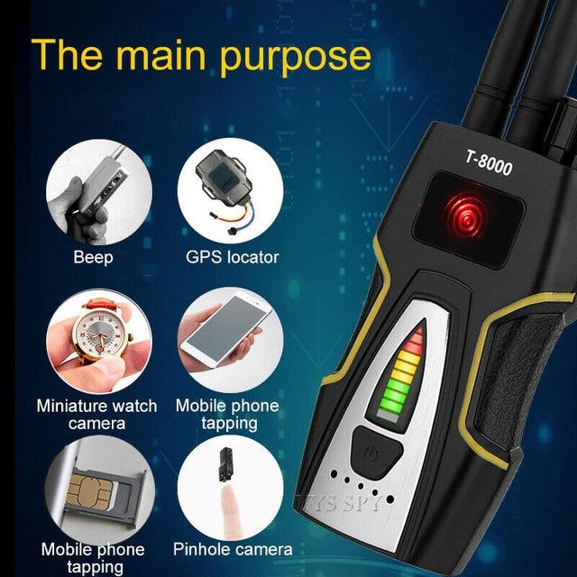 T8000 Radio RF Signal Detector Portable Anti Spy Hidden Camera Detector GSM Audio Bug Finder GPS Scanner Large Detection Range 2