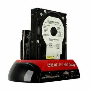 Image 1 - 하나의 ide sata 2.5 인치 3.5 인치 듀얼 하드 드라이브 hdd 도킹 스테이션 도크 usb 허브 카드 리더기 사무실 홈 컴퓨터