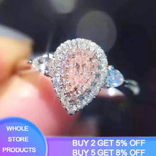 YANHUI Fine Jewelry 925 Silver Rings For Women Fashion Pink Water Drop Jewelry Engagement Bride Wedding Gift Ring Anillo XR075 xlentag original natural fresh water baroque pearl drop earrings for women bride wedding engagement fine jewelry kolczyki ge0716