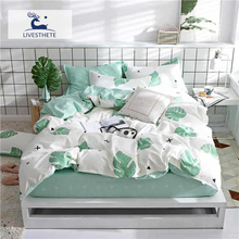 Liv-Esthete Elegant Art Banana Leaf Bedding Set Soft Duvet Cover Pillowcase Bed Linen Active Printing Flat Sheet Or Fitted