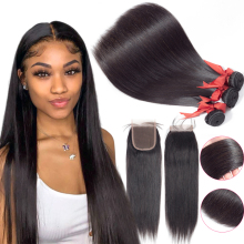 Straight Bundles With Closure BEAUDIVA Brazilian Hair Bundles With Closure Human Hair Weave Bundles With Closure Hair Extension