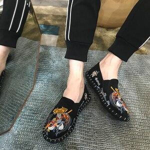 Image 5 - Licht Harte Tragende Gummi Leinwand Frühling Mode Sticken Schuhe Männer Wohnungen Schuhe Mann Leinwand Harajuku Mann Espadrilles Faulenzer